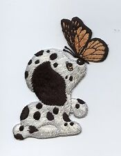 Iron On Embroidered Applique Patch Dalmatian Puppy Dog with Butterfly Large