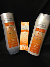 AVON ADVANCE TECHNIQUES SMOOTH AS SILK ANTI FRIZZ SHAMPOO, CONDITIONER & SERUM