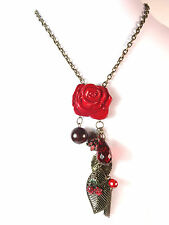 LADIES STUNNING MULTI LAYER BRONZE RED FLORAL LAYERED CHARM NECKLACE (ST59)