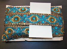 turquoise Jewel Sequin Indian wedding  cake dance costume ribbon mesh rhinestone