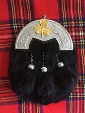 Men's Full Dress Sporran Black Rabbit Fur Celtic Cantle/Scottish Kilt Sporrans