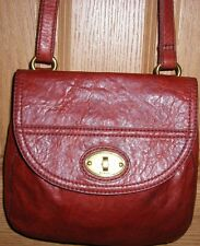 Fossil Rustic Red Brown Leather Vintage Cross Body Purse Zip Around Organizer