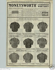 1920 PAPER AD Moneysworth Brand Work Clothes Shirts Canbrey Long John Drill