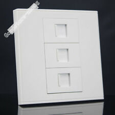 Wall Socket Plate 3 Ports Network LAN CAT6 RJ45+Telphone RJ11 Panel Faceplate