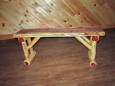Rustic Red Cedar Log Dining / Hall BENCH - 2 FT LONG - Amish Made in USA