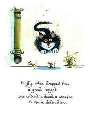 Weapon of mouse destruction picture signed by artist Mark Denman cat print
