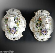 Pair of vintage Dresden  wall sconces candle holders - FREE SHIPPING
