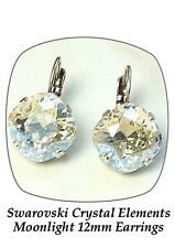 Swarovski crystal Elements 12mm fancy square stone golf drop earrings Moonlight