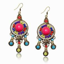 Colorful Chandelier Round Lucite Resin Beads Cross Dangle Hook Party Earrings