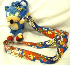 """Sonic The Hedgehog,Tails,and Knuckles Lanyard with 4"""" Sonic Plush Charm-New!"""