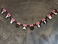 """Minnie Mouse """"Its A Girl"""" Banner. Polka Dot Bows"""