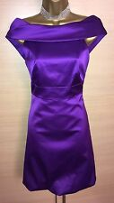 Exquisite Karen Millen Purple Bow Back Bardot Evening Dress UK8