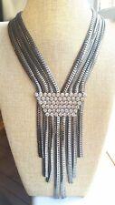 Collar De Plata Con Flecos De Cristal De Diamante Inspirado Diseñador Idea Regalo De Navidad