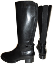 $495 Aquatalia Black Leather Tall Opie Weatherproof Boot Zipper Riding Bootie 8.