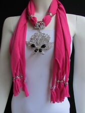 WOMEN PINK SOFT FABRIC FASHION SCARF NECKLACE SILVER FLOWERS BUTTERFLY PENDANT