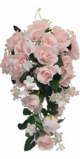 PINK ROSES Cascade Bridal Bouquet Silk Wedding Flowers Arch Gazebo Centerpieces