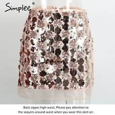 Simplee High Waist Mesh Sequin Skirt Christmas Party Evening A-Line Mini Skirt