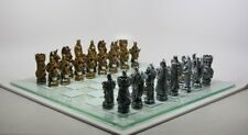 King Arthur Chess Set with Glass Board Chessboard.Medieval Home Decor Gift 9382