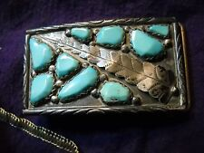 WAYNE C ZUNI STERLING SILVER BELT BUCKLE SLEEPING BEAUTY TURQUOISE NUGGET CHEAMA