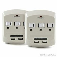 2 Pack 3 Outlet Power Surge Protector 2 USB Charging Slim Wall Tap - 900 Joules