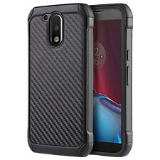 MOTOROLA MOTO G4 PLUS BLACK CARBON FIBER IMPACT SHIELD CASE RUGGED COVER