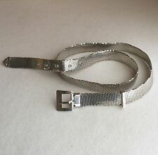 Vintage 70s 'WHITING & DAVIS'  Metallic SILVER Mesh Disco WIDE Waist HIP Belt L
