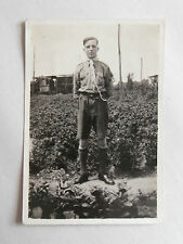Vintage 50s B/W Photograph. British Boy Scout in Uniform on Allotment with Sheds
