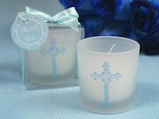 50 Blue Cross Candle Holder Christening Baptism Communion Baby Shower Favor Gift