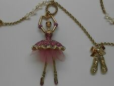 Betsey Johnson Ballerina Pendant & Ballet Slippers Long Gold Tone Necklace