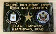 CIA Baghdad Station US Embassy Baghdad, Iraq Marble Desk Signage Two Emblems