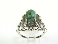 1.25ct Natural Oval Cut Turquoise Victorian Deco 925 Sterling Filigree Ring s7