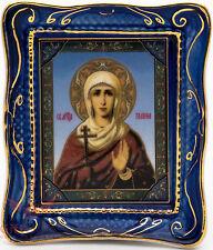 Orthodox Gzhel porcelain decal Icon St. Galina Corinth Святая Галина Коринфская