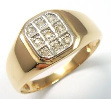 NEW 10KT YELLOW GOLD DIAMONDS MEN'S GENT'S RING SIZE 10    R1241