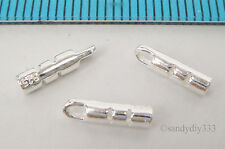 6x STERLING SILVER BRIGHT 1mm LEATHER CRIMP END CAP CONNECTOR BEAD #2183E