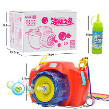Kids Soap Bubble Blowing Camera Light Music Toy Garden Outdoor Game Child Party