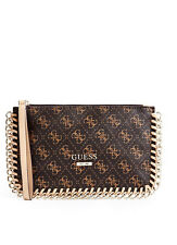 NWT GUESS Confidential Clutch Wristlet Purse 4G logo print brown