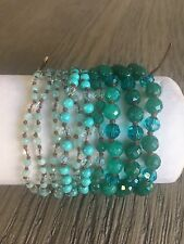 NEW AUTHENTIC CHAN LUU TURQUOISE MIX MULTI STRAND BRACELET WITH BROWN LEATHER