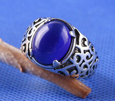 925 sterling Solid silver retro ring sapphire stone Fashion Jewelry Size8