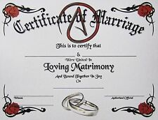 Secular Certificate of Marriage Parchment Atheist Agnostic Wedding Love Athiest