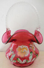FENTON ART GLASS CRANBERRY BASKET HAND PAINTED SIGNED TWISTED HANDLE