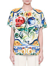 Dolce & Gabbana Ss Maiolica Prnt Easy Blouse  size 40IT/6US