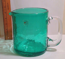 BLENKO 745 PITCHER W STICKER blue green w clear handle  very nice 6 inches tall