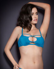 Agent Provocateur LIZA BRA in TURQUOISE STRETCH SILK - 36B - BNWT
