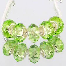 Crystal Grass green 5pcs MURANO glass bead LAMPWORK fit European Charm Bracelet