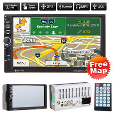 Double 2 DIN Car MP3 MP5 Player Stereo GPS Sat Nav Bluetooth USB/TF/AUX/FM + Map