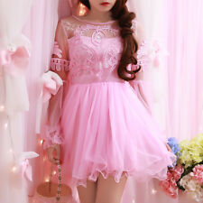 Sweet Lolita Dreamlike Lace Tulle Embroidery Princess Puff Sleeve Dress#L25