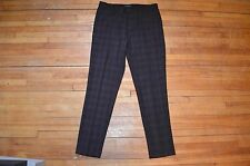 COOL TAILORED FIT BLACK BURGUNDY PLAID DRESS PANTS S 30 FOREVER 21 MEN SLIM FIT