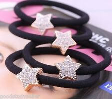 4 Pcs Korean Fashion Crystal Star Elastic Hair Band Scrunchie Ponytail Holder