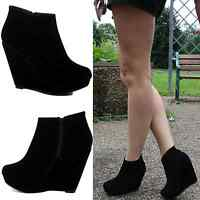 Womens Ladies Platform Mid High Top Ankle Wedge Heel Boots Trainers Shoes Size