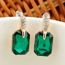 Vintage Elegant Womens Green Square Crystal Ear Stud Earrings Jewelry Gift